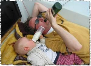 bebendo com o pai